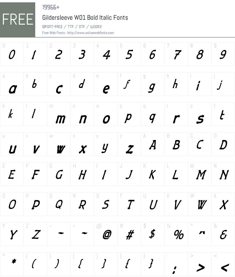 GildersleeveW01-BoldItalic Font Screenshots