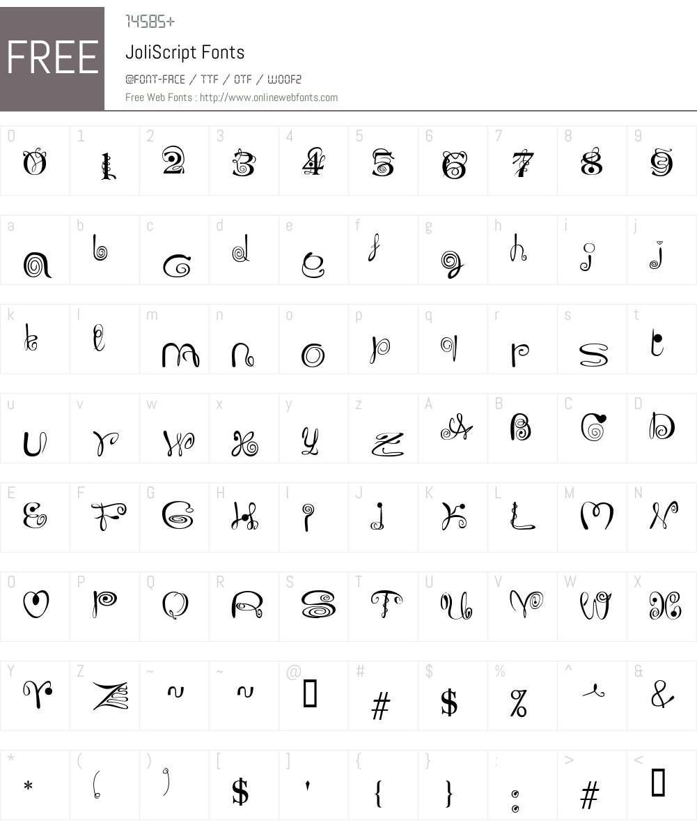 JoliScript Font Screenshots