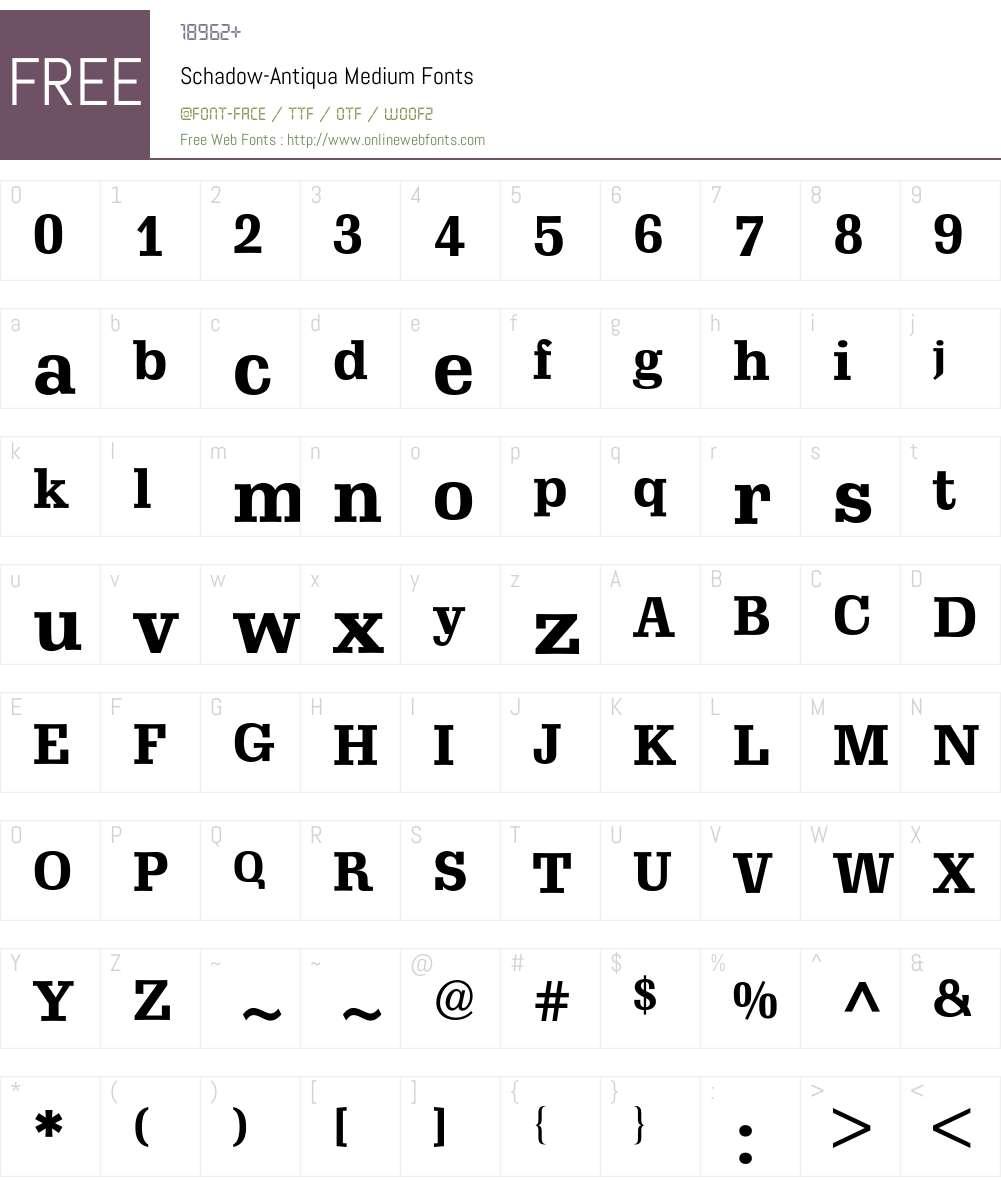 Schadow-Antiqua BQ Font Screenshots