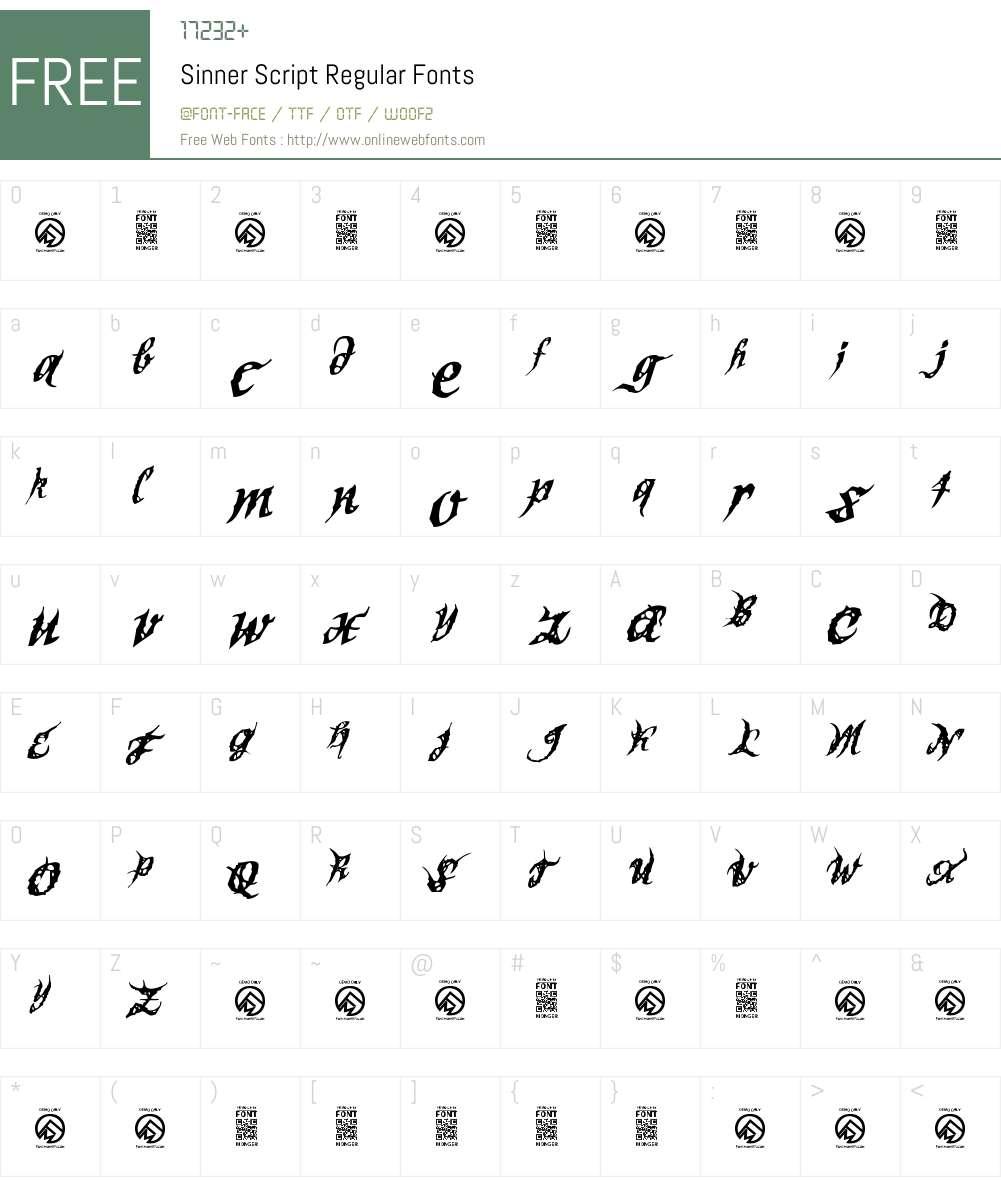 Sinner Script Font Screenshots