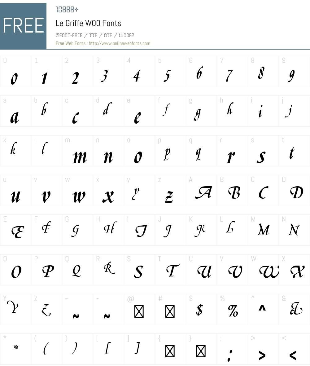 LeGriffeW00 Font Screenshots