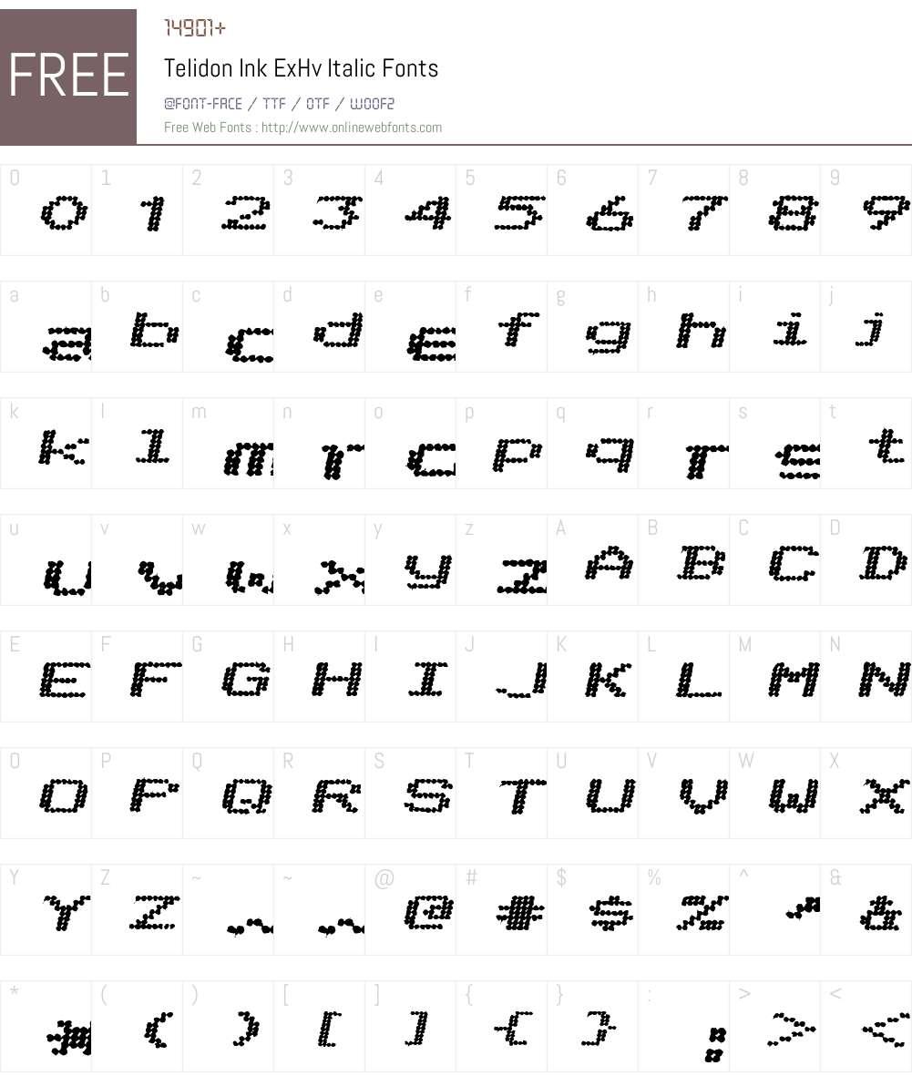 Telidon Ink ExHv Font Screenshots