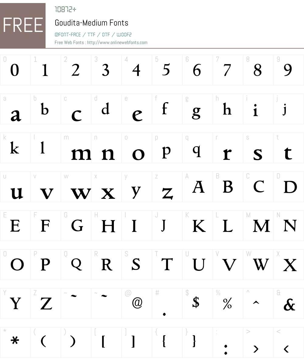 Goudita-Medium Font Screenshots
