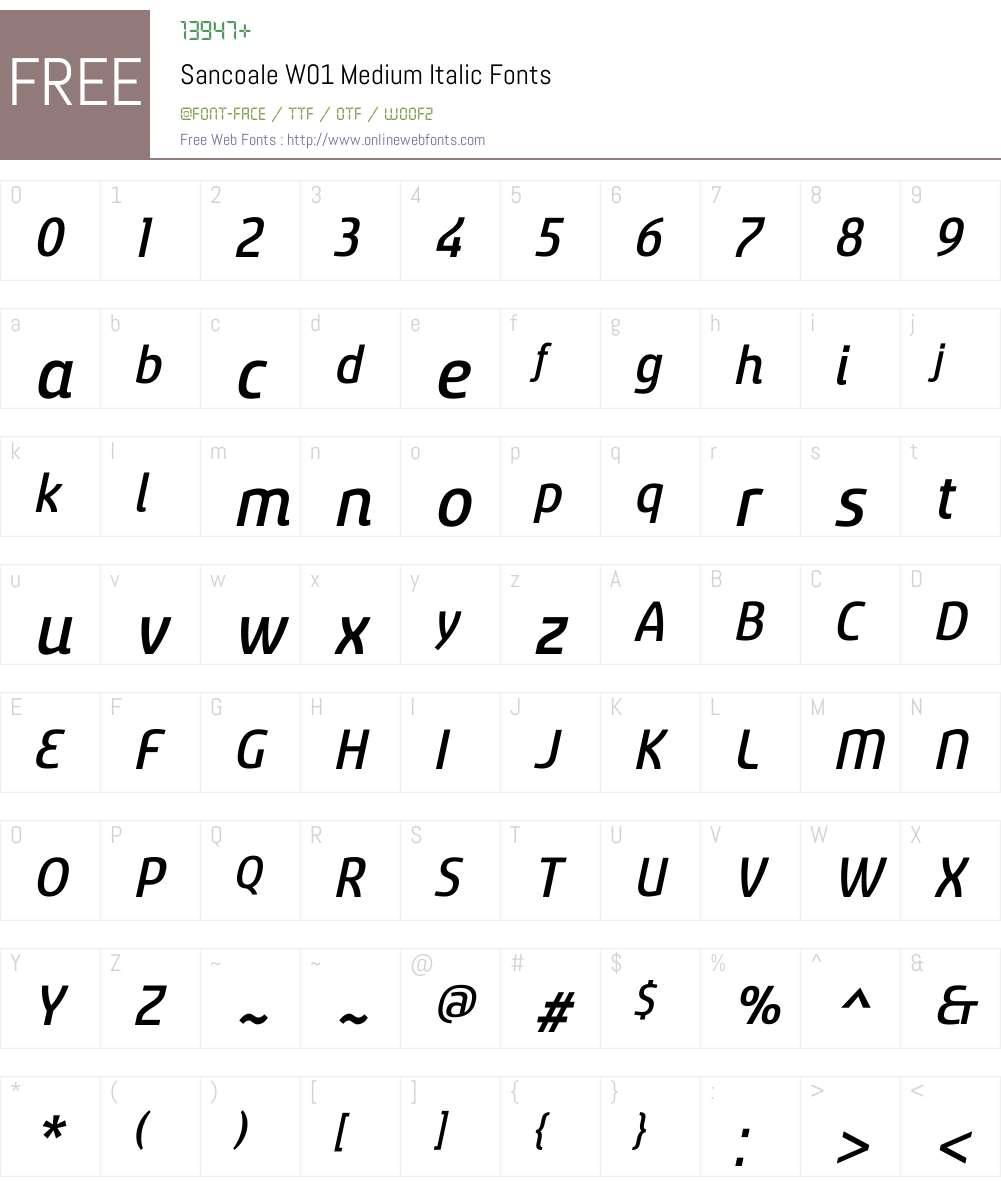 Sancoale Medium Italic Font Screenshots