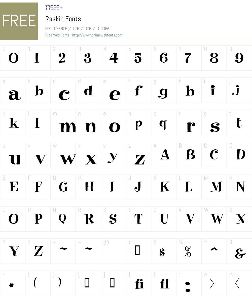 Raskin Font Screenshots
