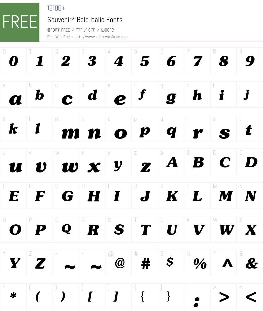 Souvenir BQ Font Screenshots