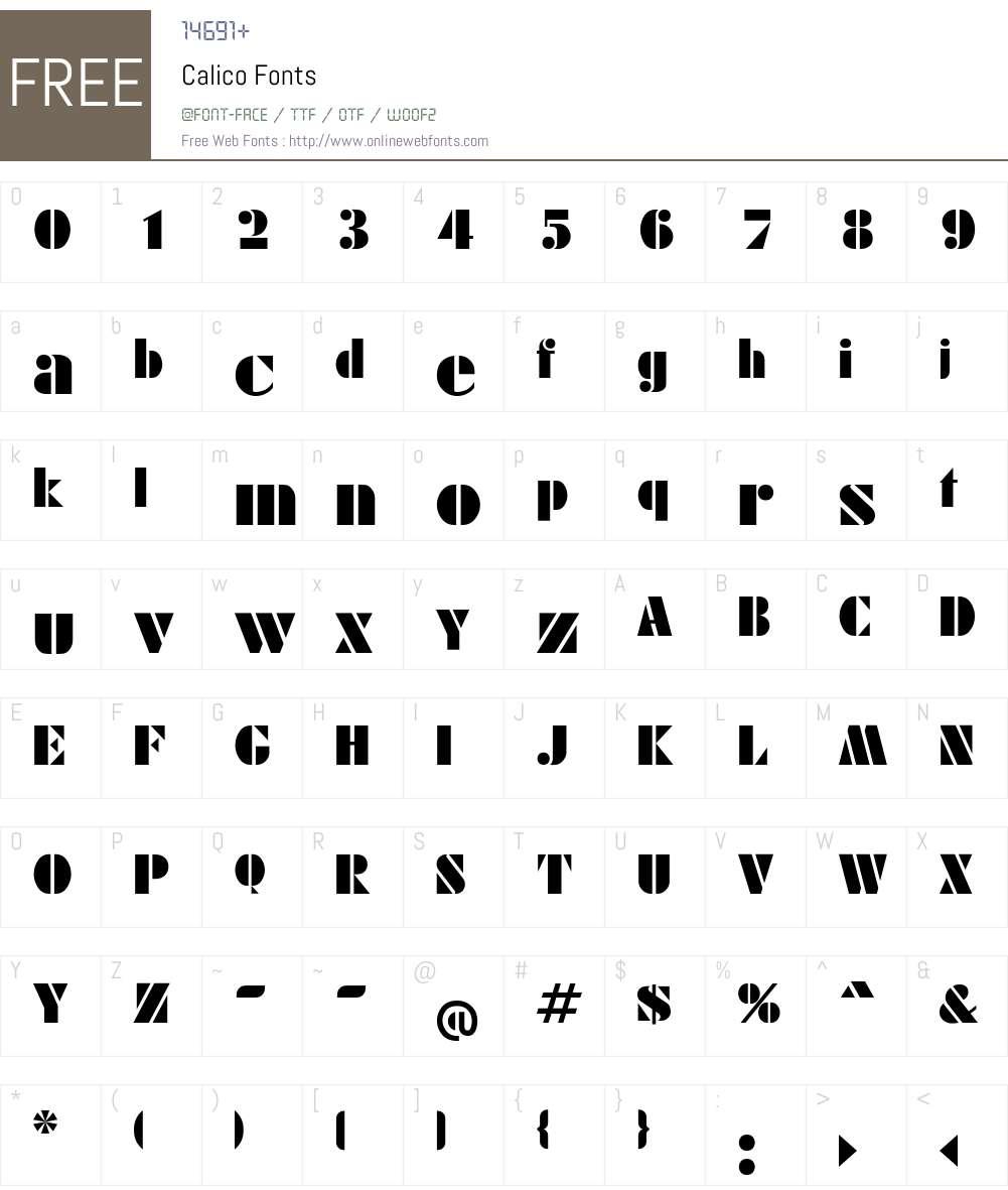Calico Font Screenshots
