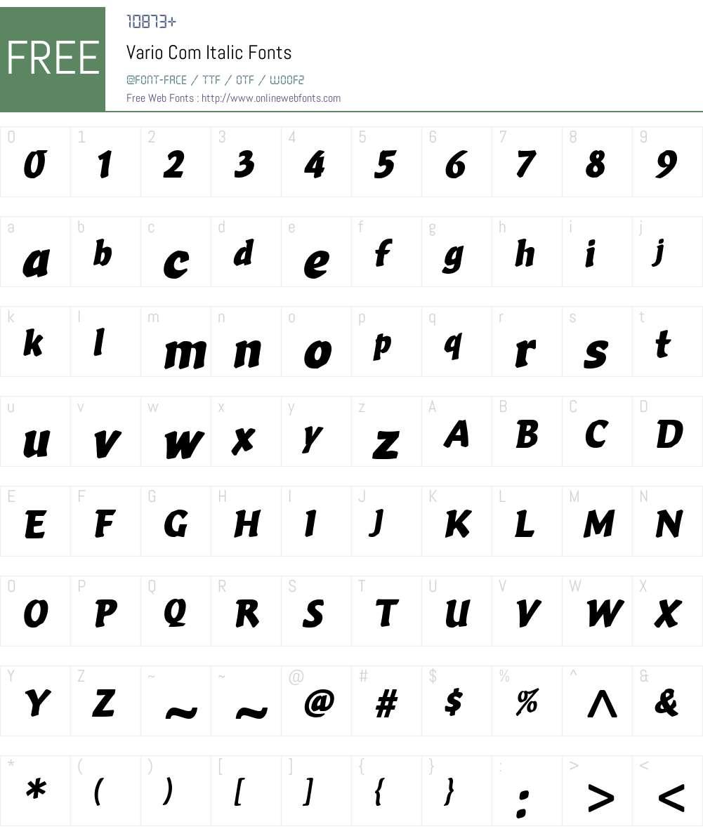 Vario Com Font Screenshots