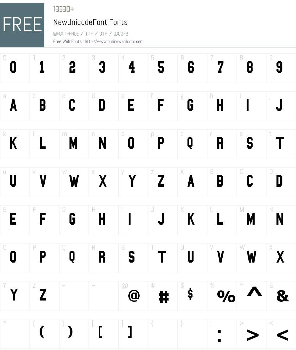 NewUnicodeFont Font Screenshots