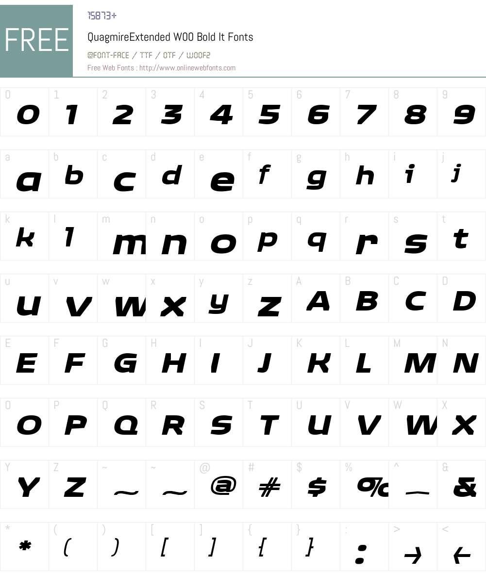 QuagmireExtendedW00-BoldIt Font Screenshots