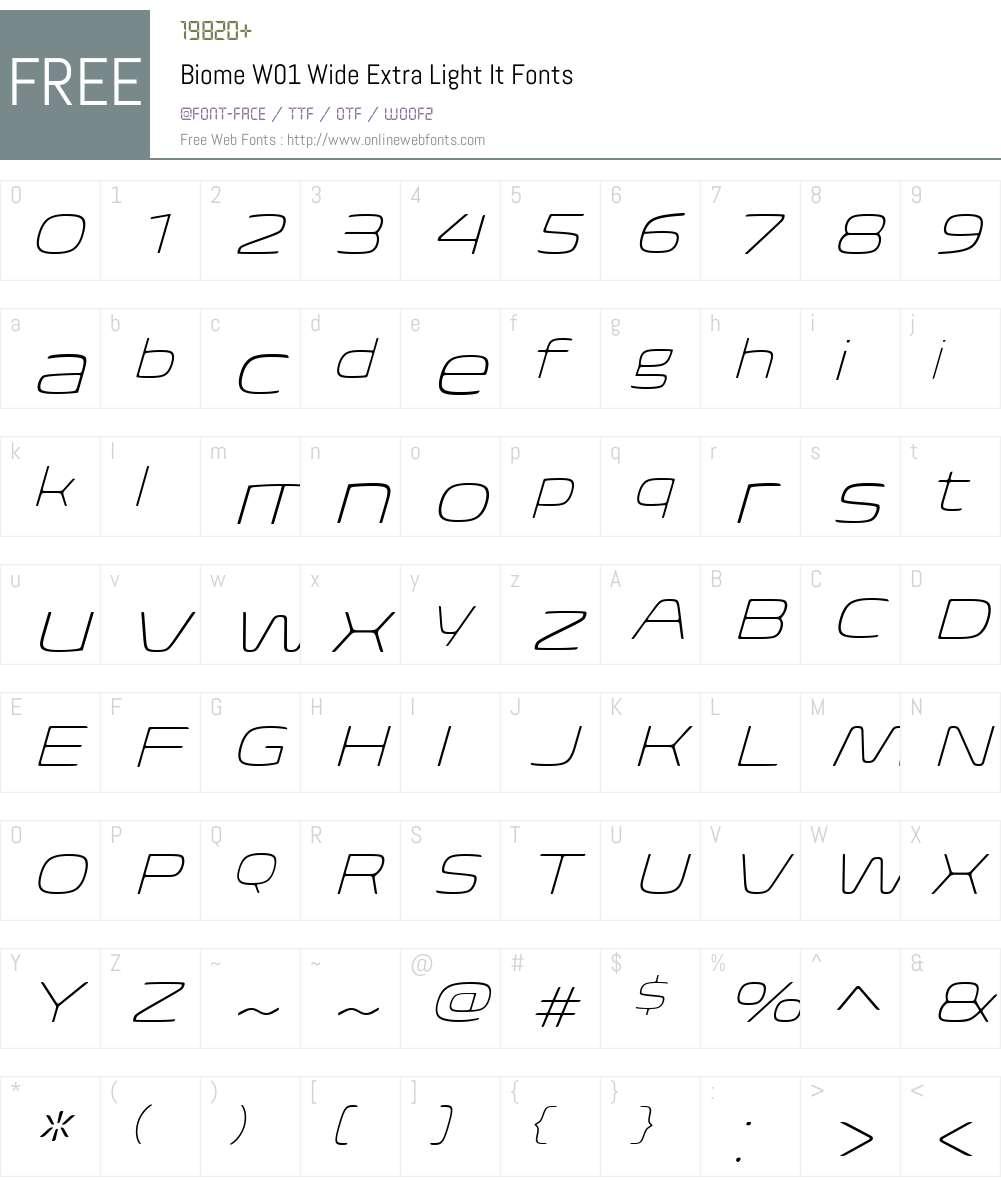BiomeW01-WideExtraLightIt Font Screenshots