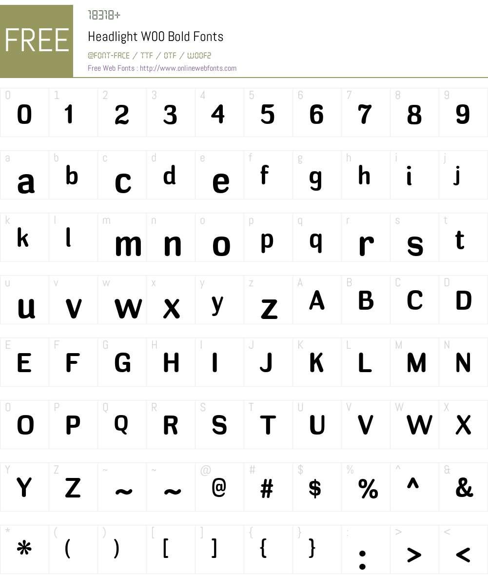 HeadlightW00-Bold Font Screenshots