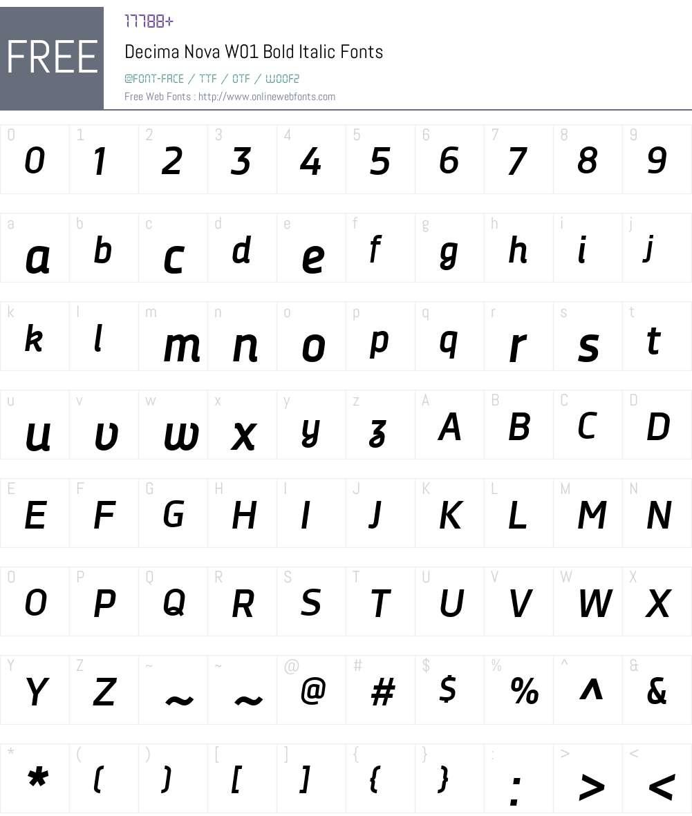 DecimaNovaW01-BoldItalic Font Screenshots