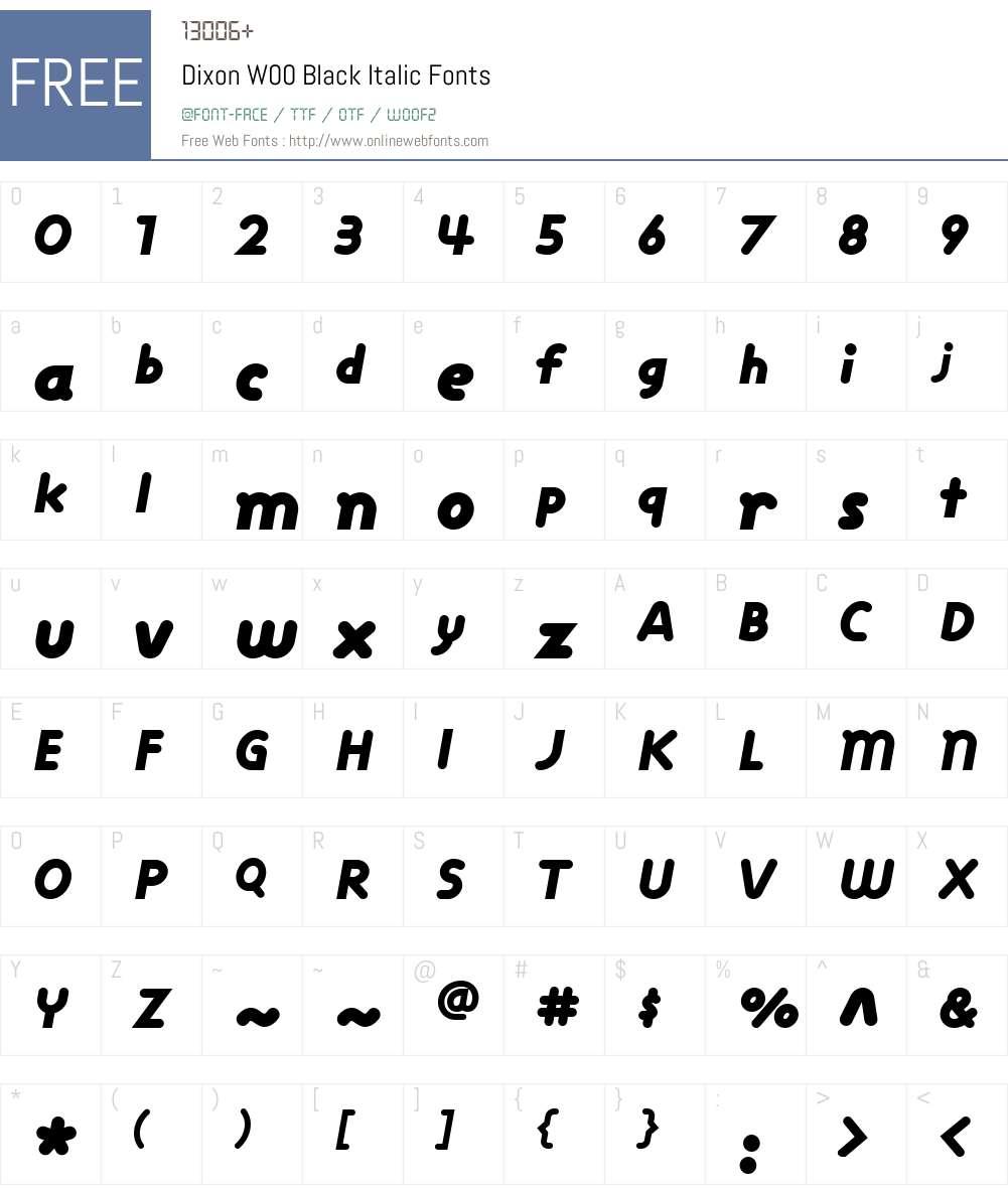 DixonW00-BlackItalic Font Screenshots