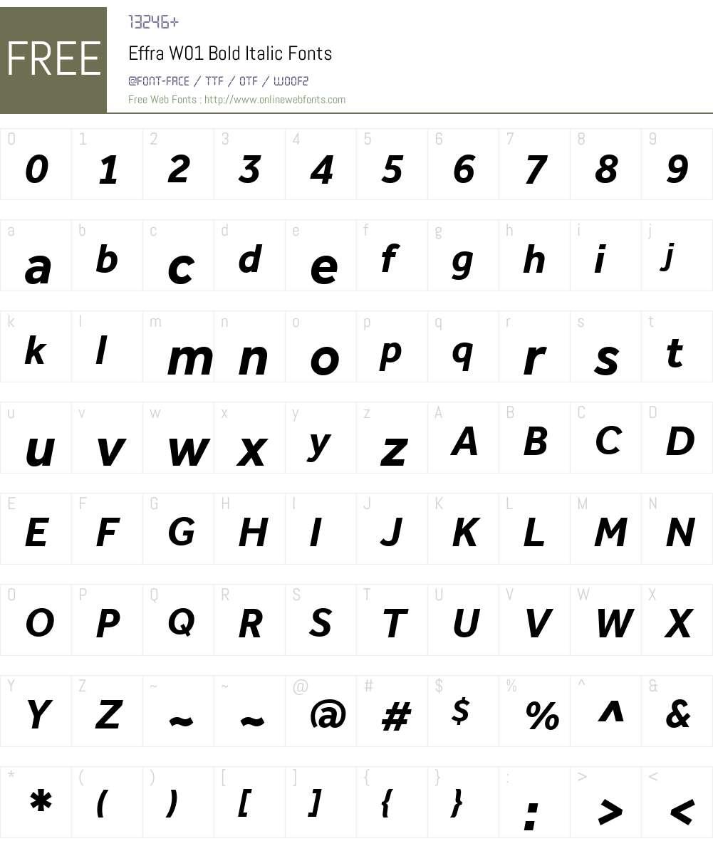 EffraW01-BoldItalic Font Screenshots
