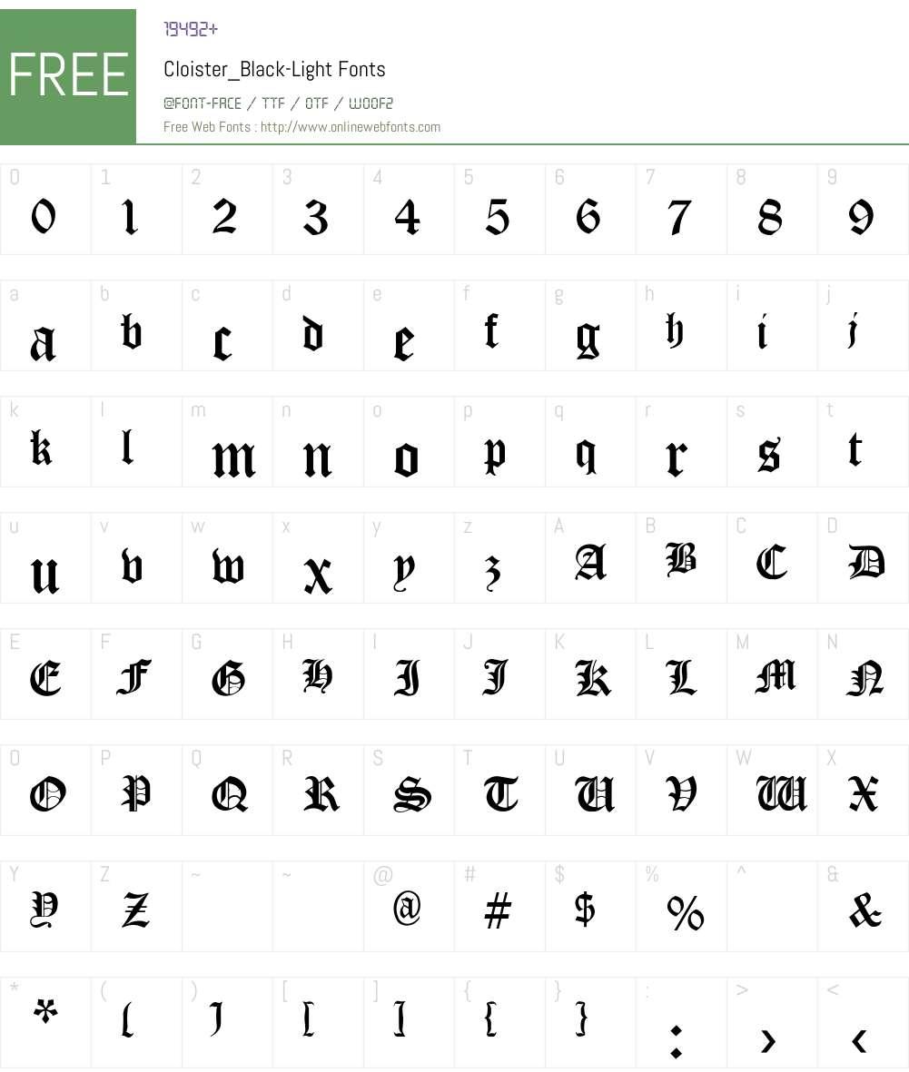 Cloister_Black-Light Font Screenshots