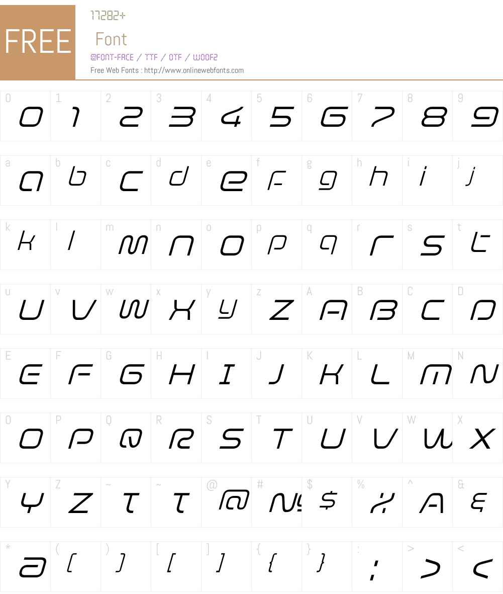 EvolverW01-LightItalic Font Screenshots