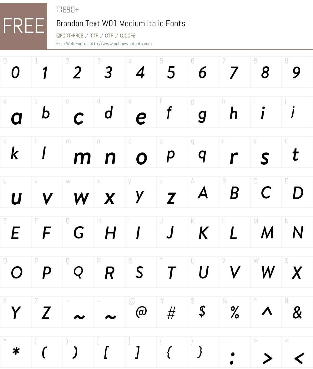 BrandonTextW01-MediumItalic Font Screenshots