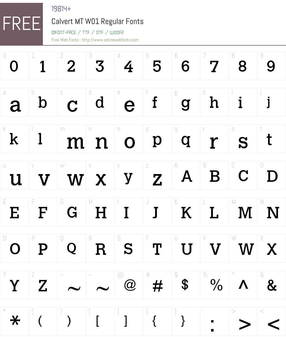 CalvertMTW01-Regular Font Screenshots