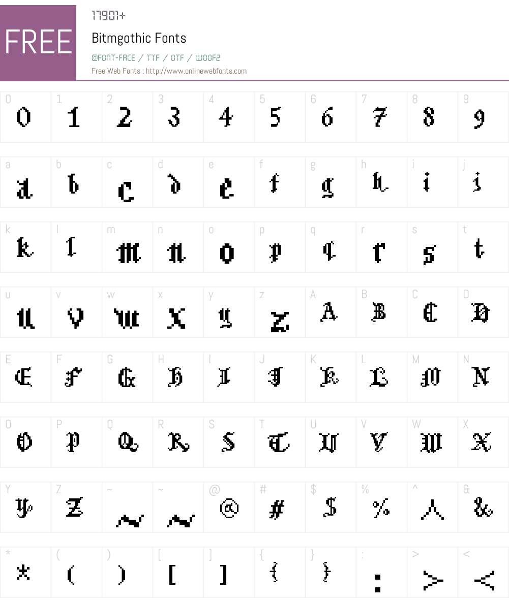 Bitmgothic Font Screenshots