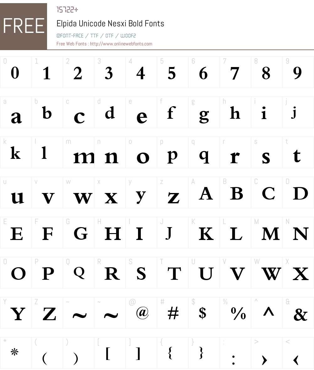 Elpida Unicode Nesxi Font Screenshots