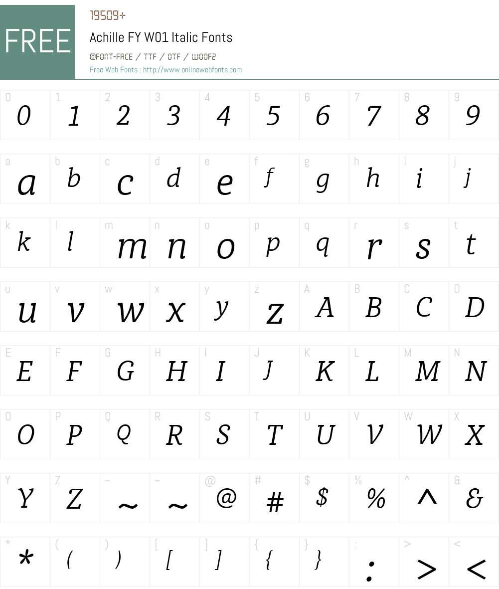 AchilleFYW01-Italic Font Screenshots