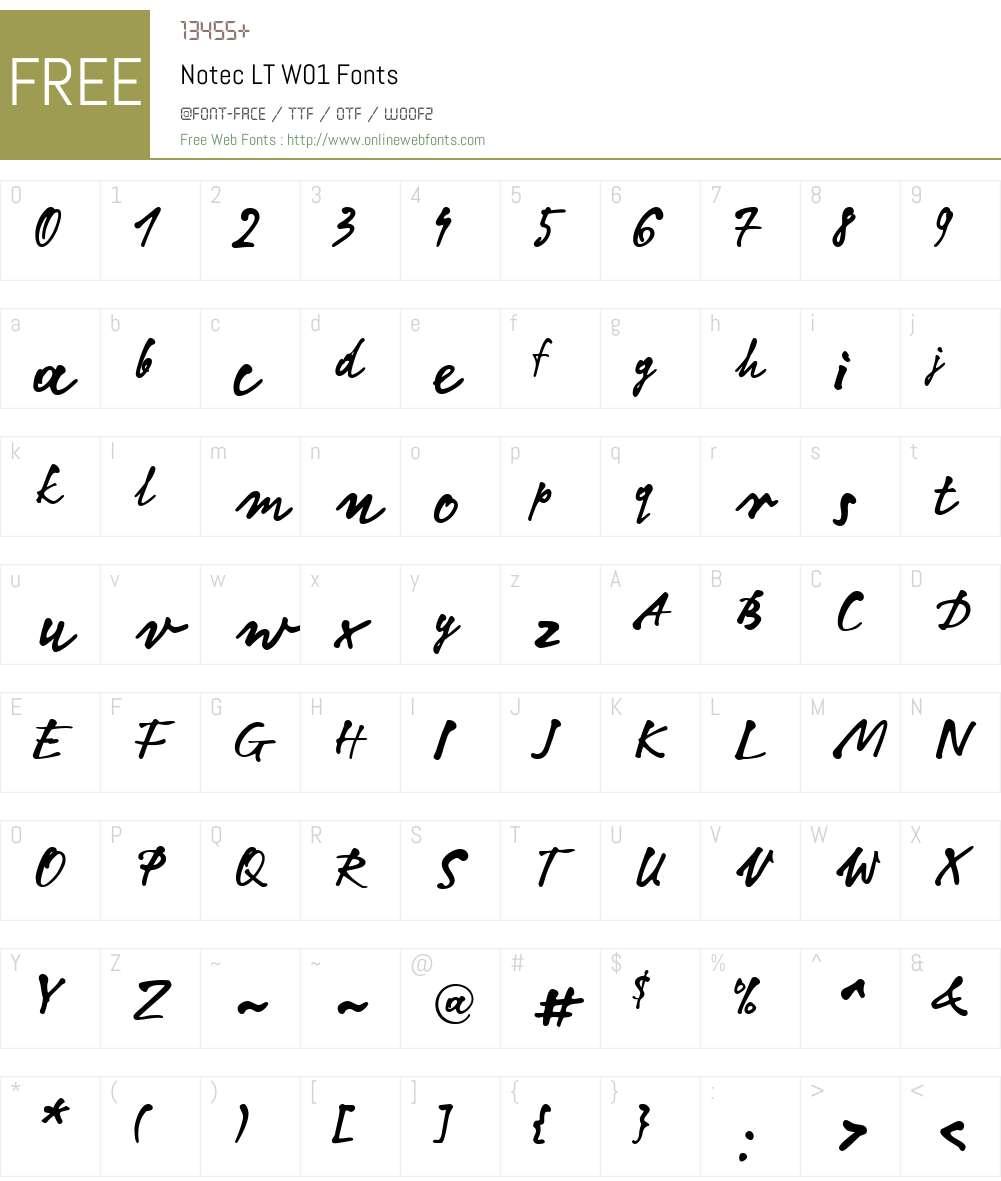NotecLTW01 Font Screenshots