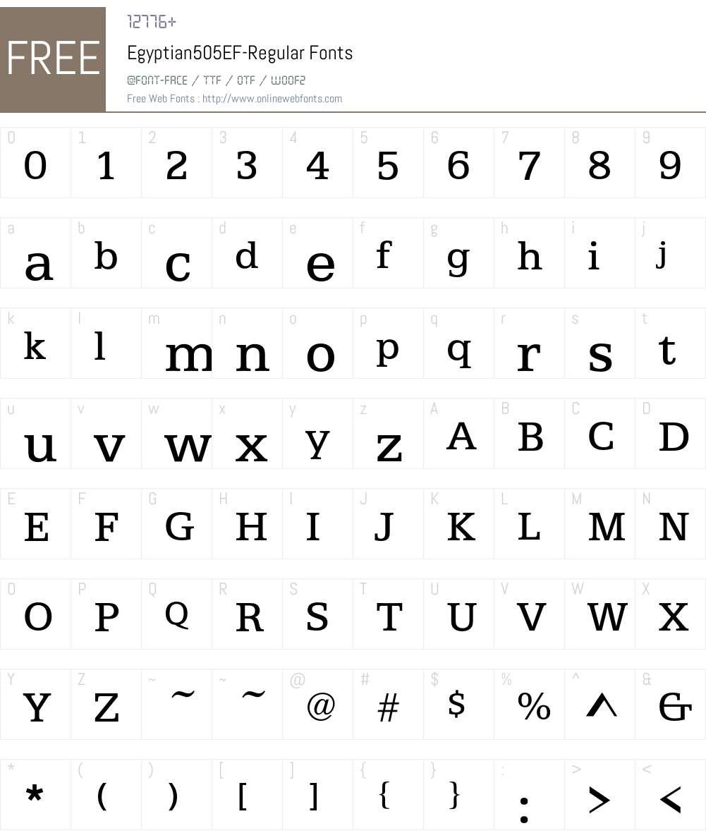Egyptian505EF Font Screenshots