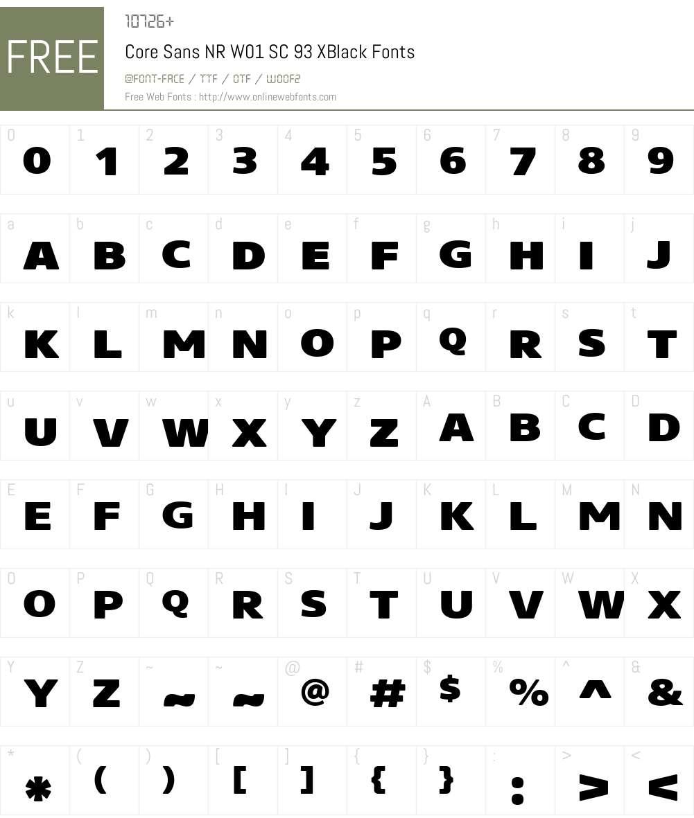 CoreSansNRW01-SC93XBlack Font Screenshots