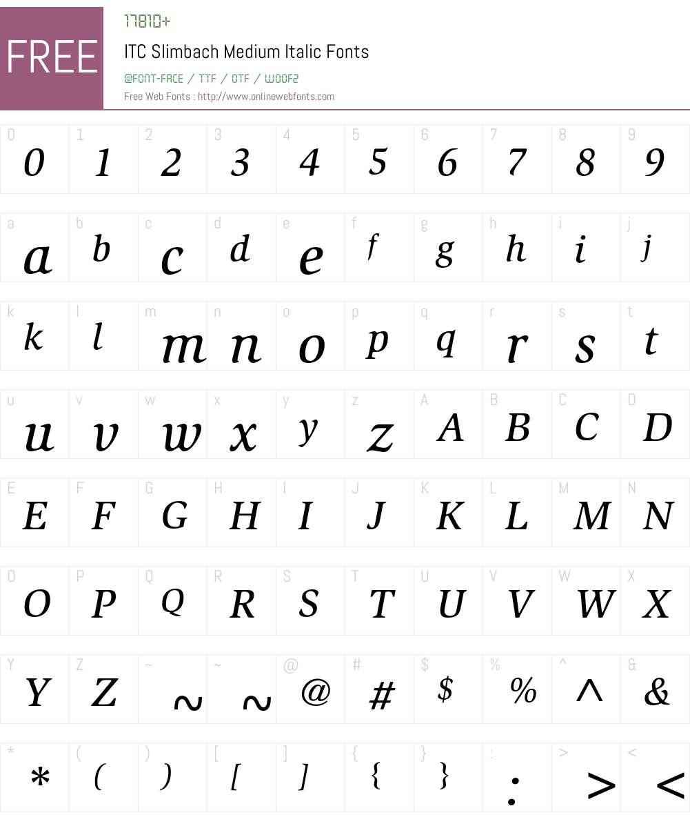 ITC Slimbach Font Screenshots