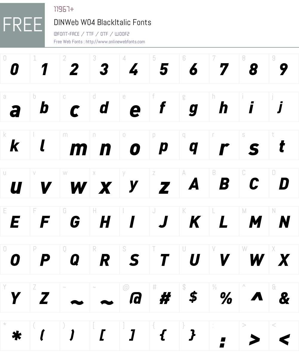 DINWebW04-BlackItalic Font Screenshots