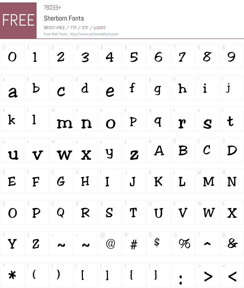 Sherborn Font Screenshots