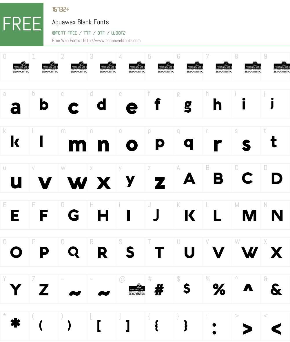Aquawax Font Screenshots