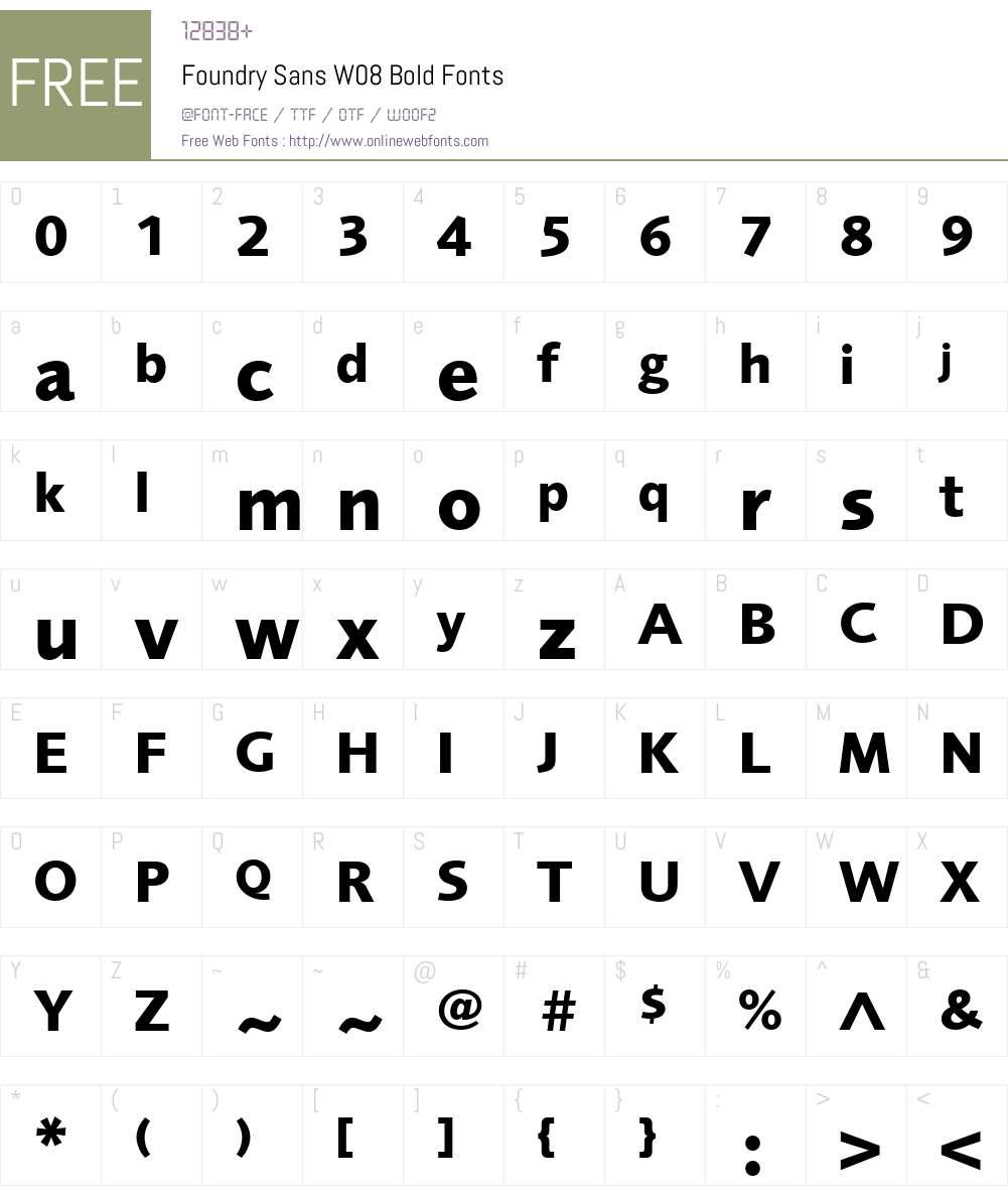 FoundrySansW08-Bold Font Screenshots
