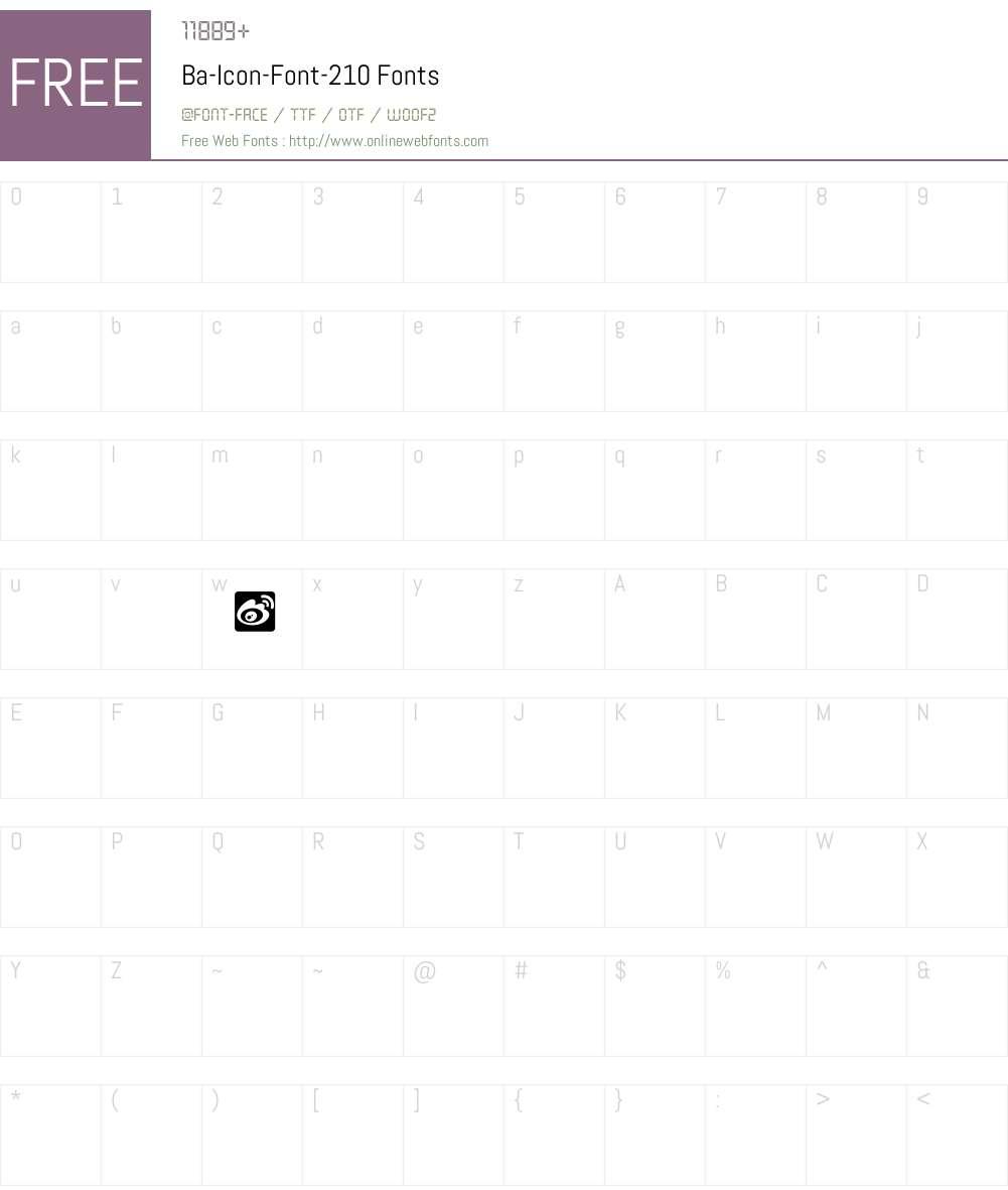 Ba-Icon-Font-210 Font Screenshots