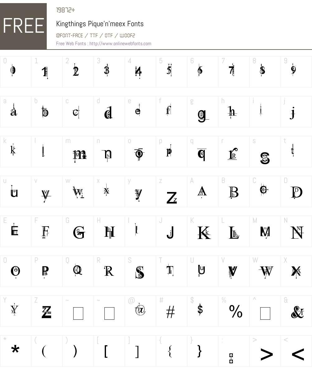 Kingthings Pique'n'meex Font Screenshots