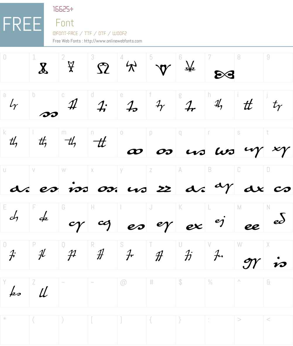 QuillerW00-Ligatures Font Screenshots