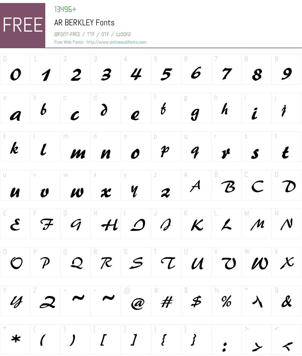 AR BERKLEY Font Screenshots