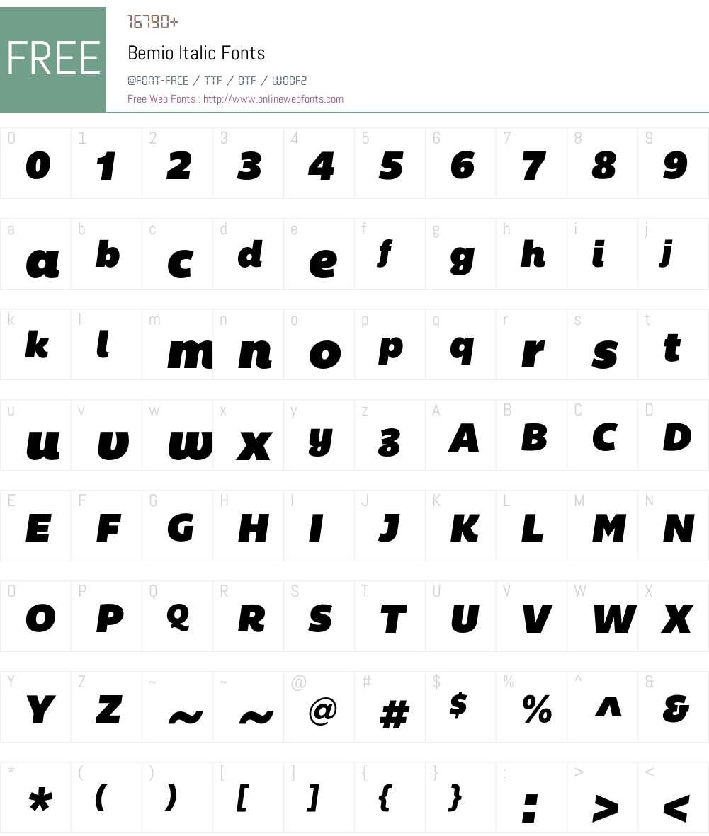 Bemio Italic Font Screenshots