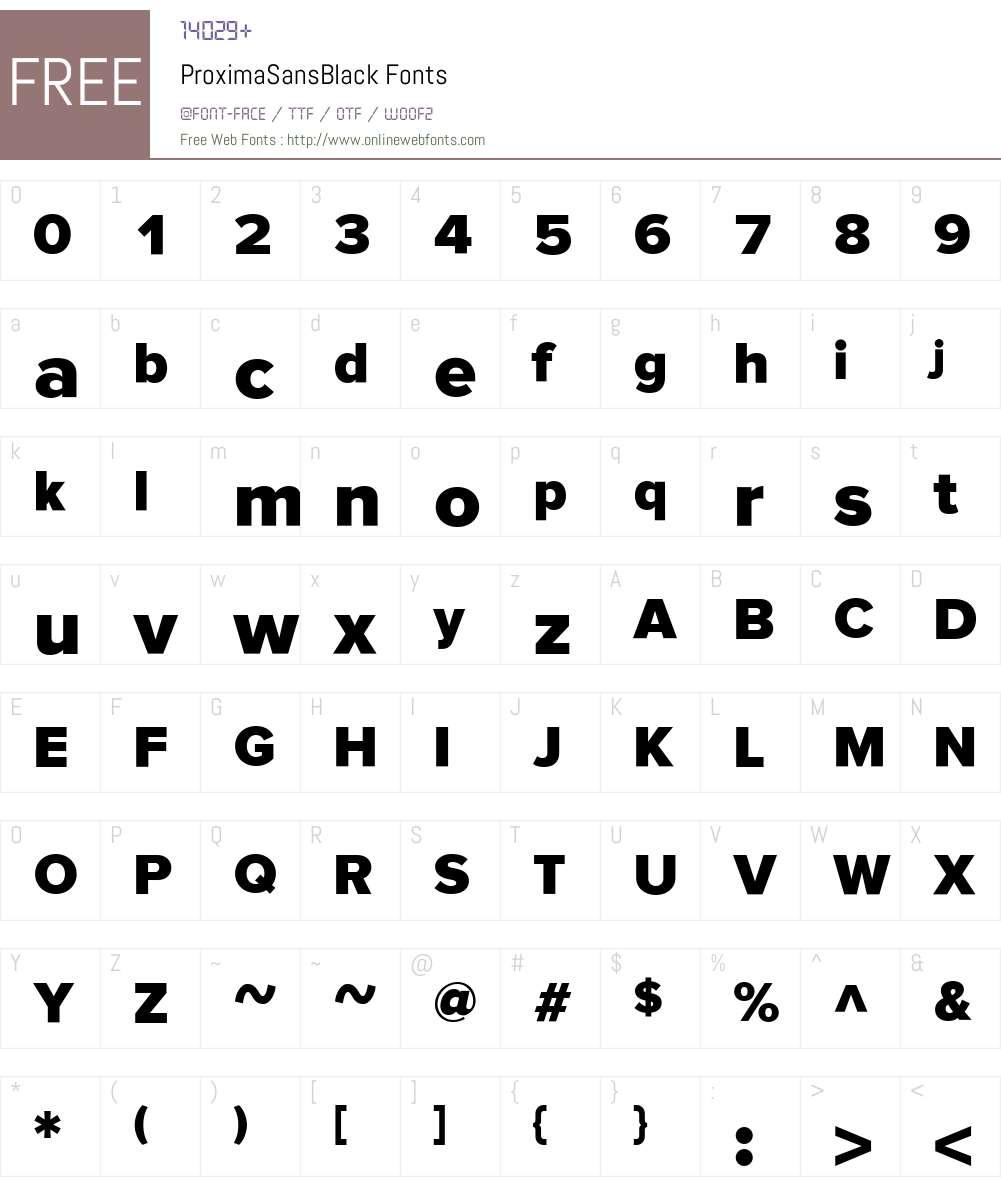 ProximaSansBlack Font Screenshots