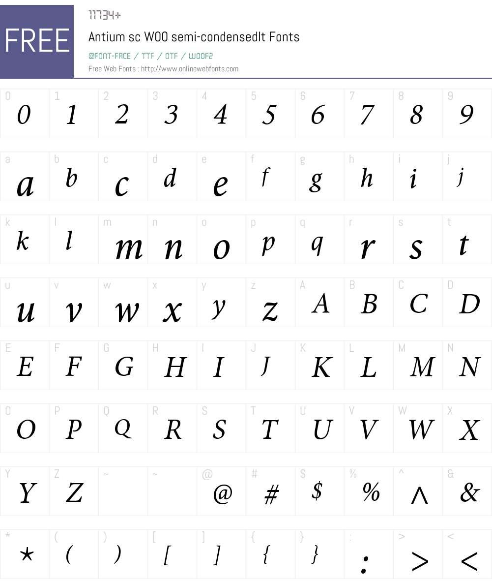 AntiumscW00-semi-condensedIt Font Screenshots