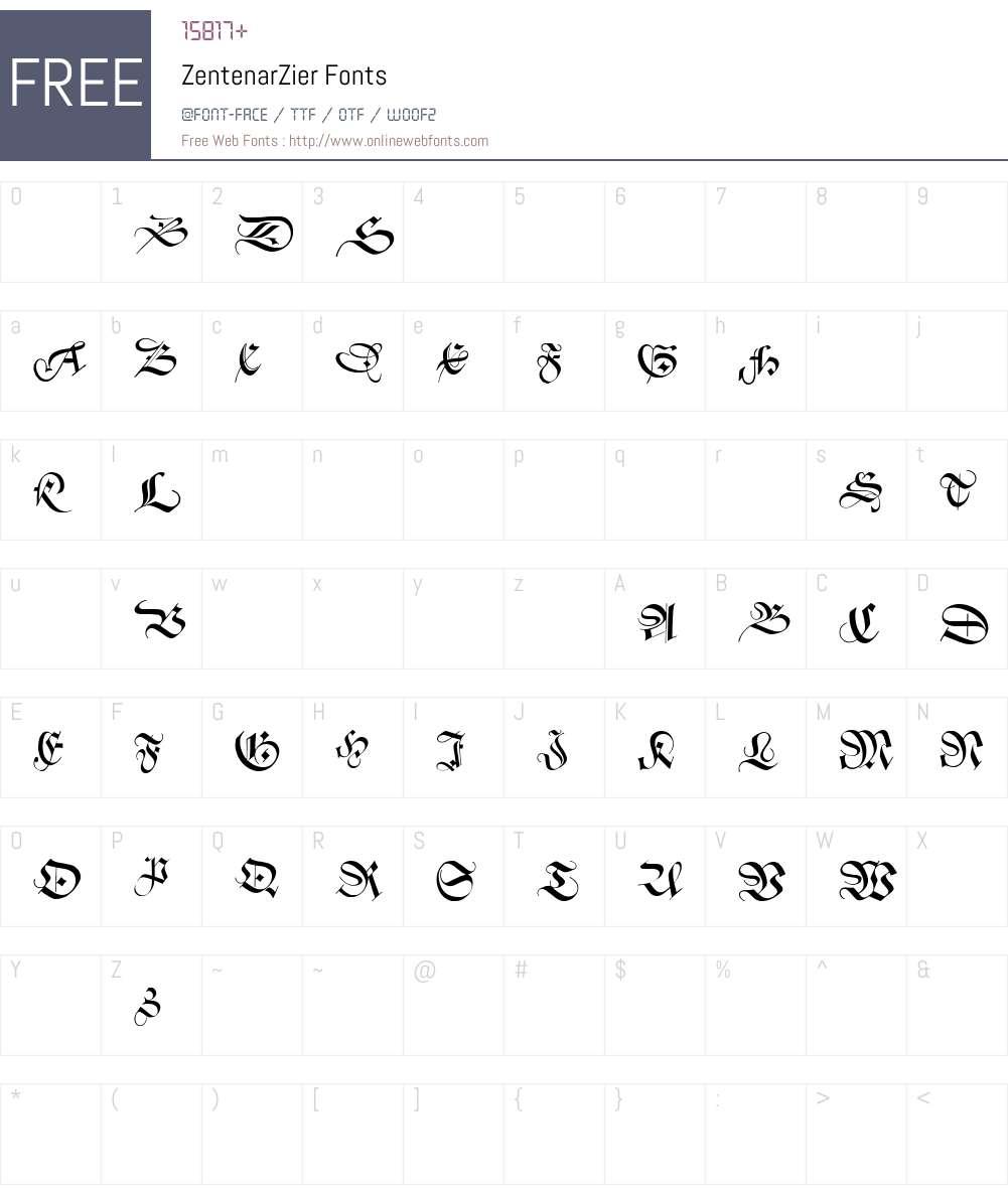 ZentenarZier Font Screenshots