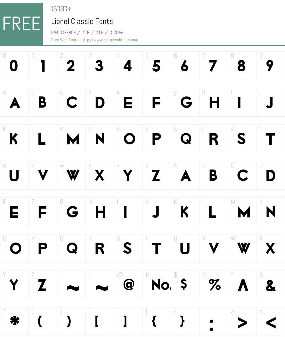Lionel Classic Font Screenshots