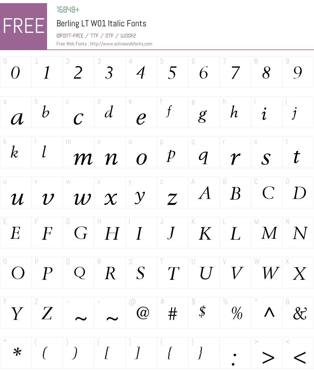 BerlingLTW01-Italic Font Screenshots