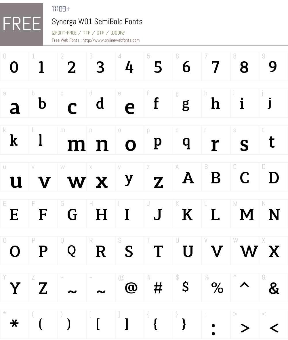 SynergaW01-SemiBold Font Screenshots