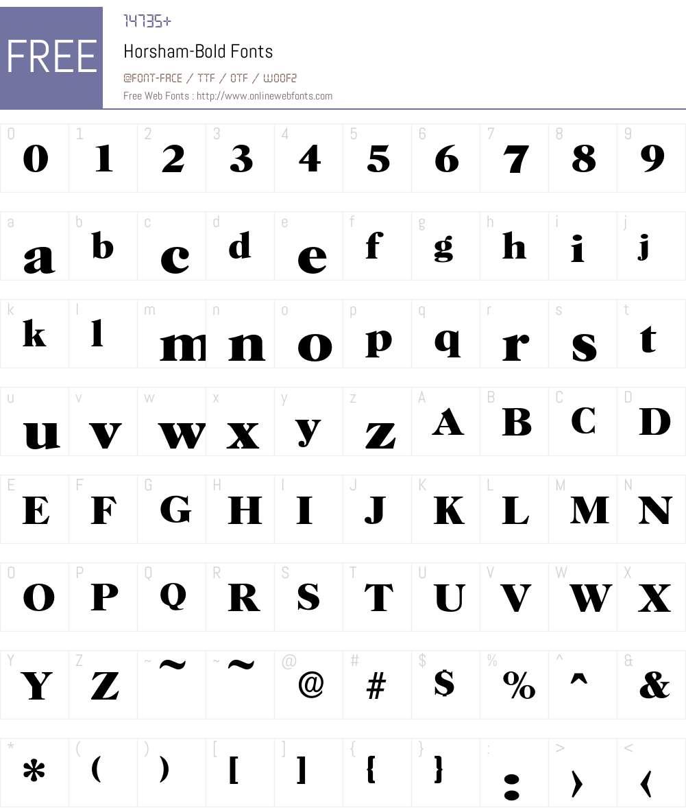 Horsham-Bold Font Screenshots