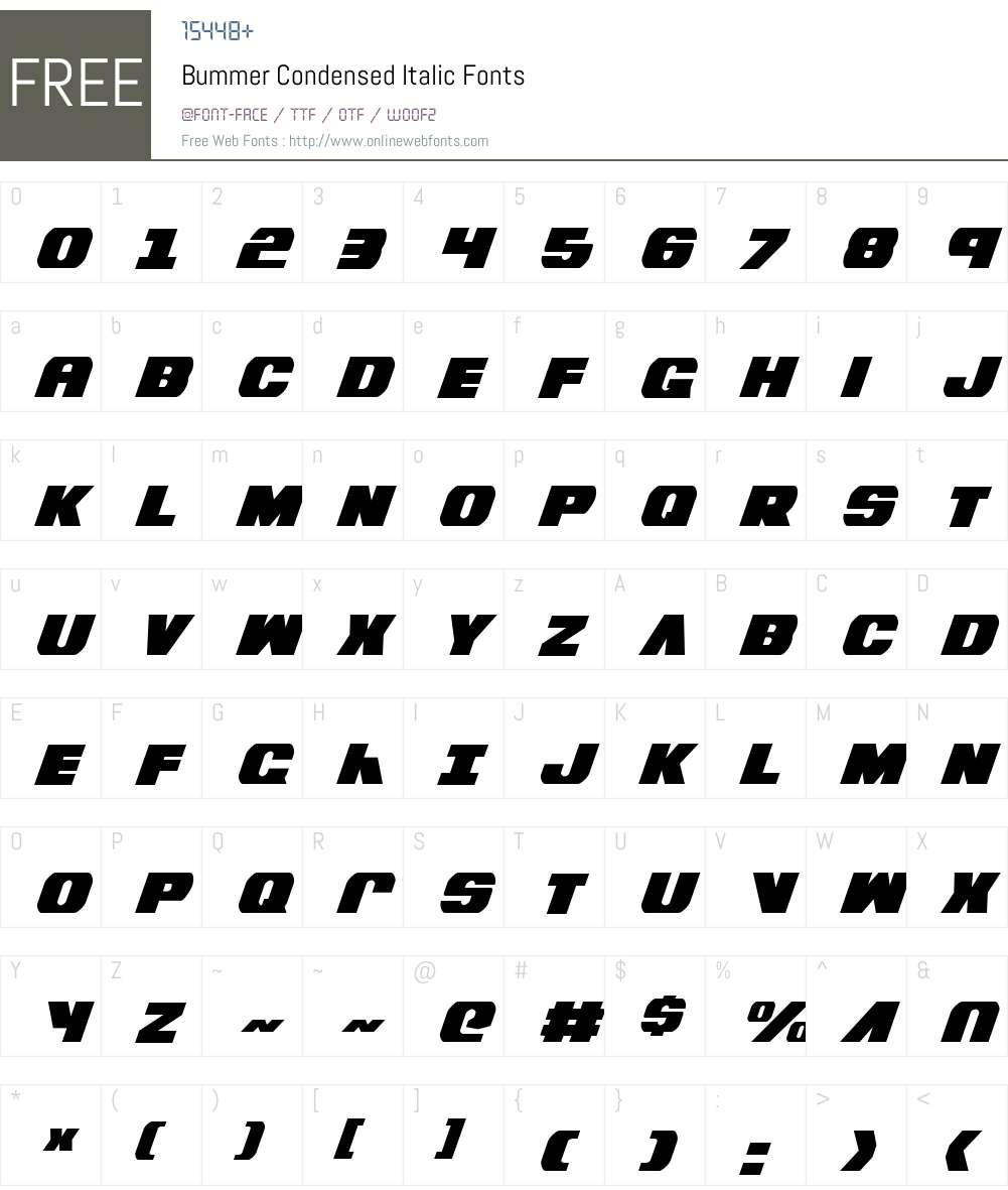Bummer Condensed Italic Font Screenshots