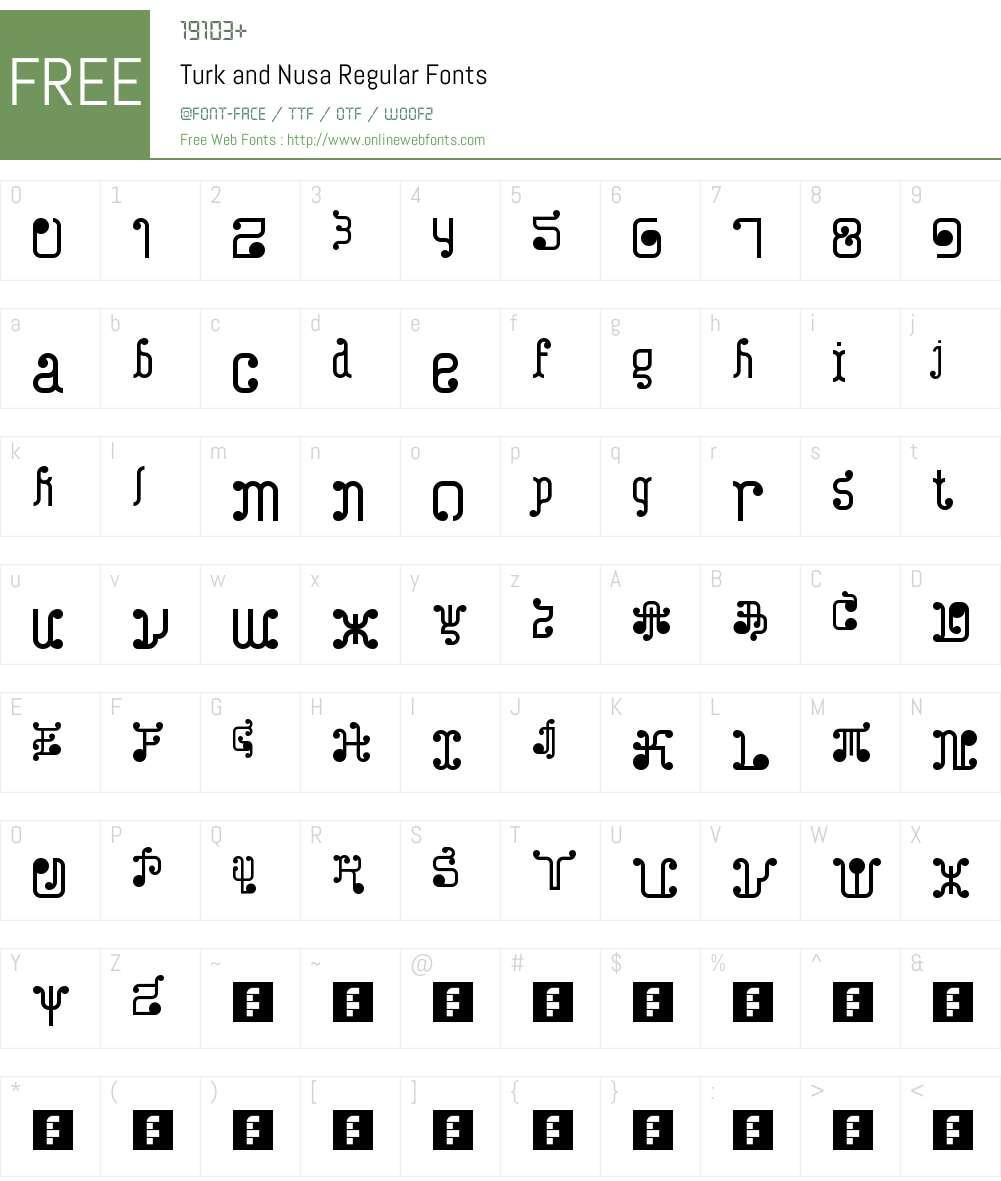 Turk and Nusa Font Screenshots