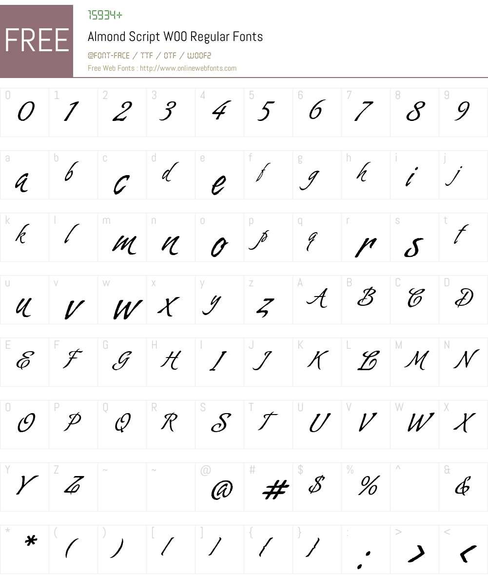 AlmondScriptW00-Regular Font Screenshots