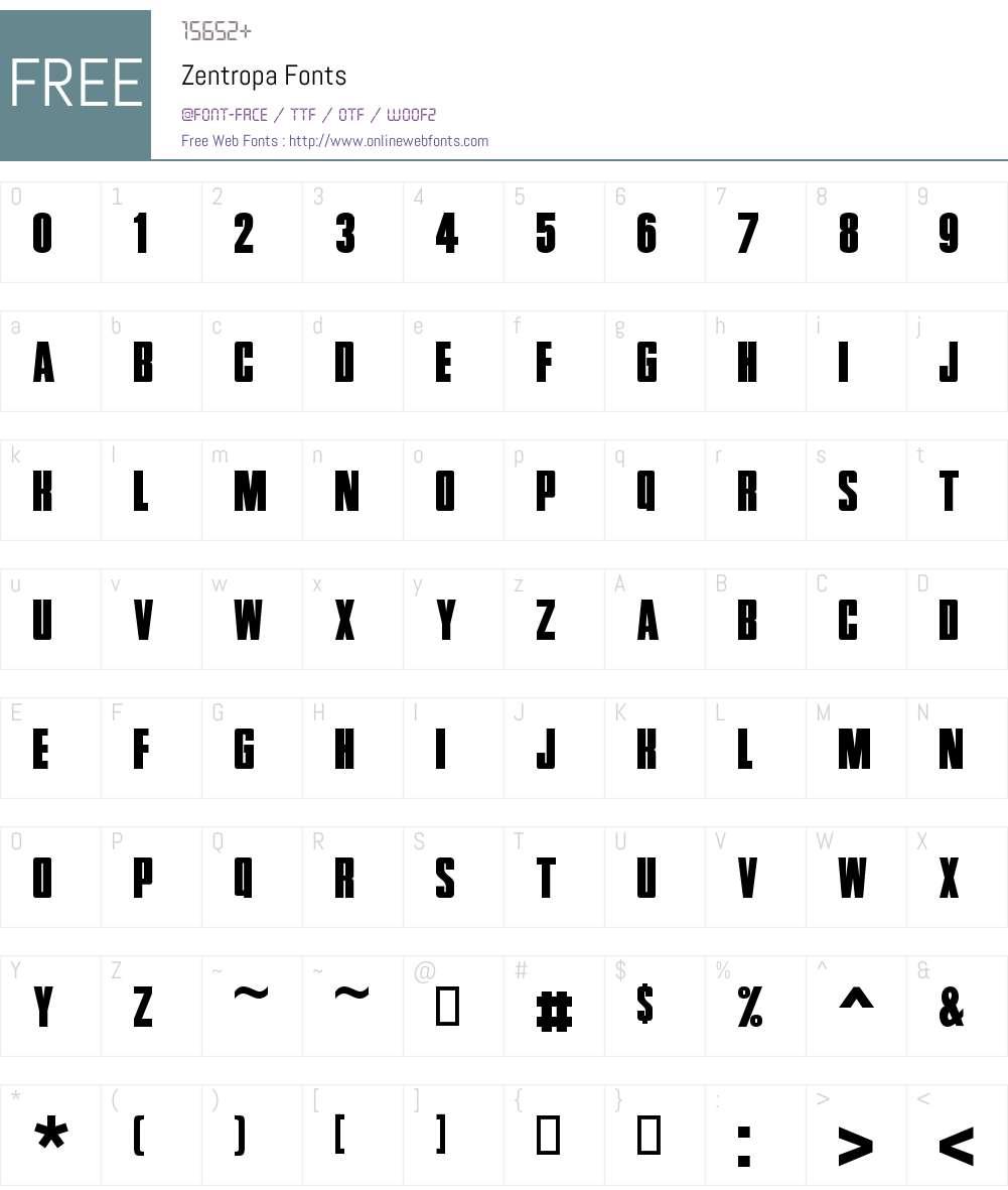 Zentropa Font Screenshots